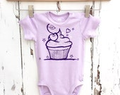 Organic purple lilac violet cupcake cherry Baby romper bodysuit shower gift sweet kawaii