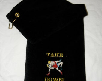 Wrestling Towel with Grommet and Velcro Pocket Black Embroidered 100% cotton TAKE DOWN - Ready to Ship