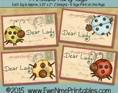 Instant Download - Printable Hang Tags - Dear Lady - Digital Print PDF and/or JPG File