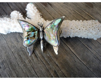 Mexico Butterfly Pin - Silver and Abalone Pin- Vintage Jewelry