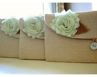 Mint Green clutch burlap purse blue,black,gold gray rustic shabby rose purse Personalize Bridesmaid gift MakeUp