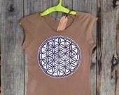 Flower of life Organic cropped T shirt batik tie dye brown - Yoga Clothes -