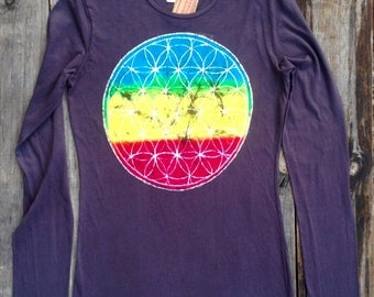 Batik Flower of life hand dyed Eco yoga t-shirt long sleeved women hand painted vintage black