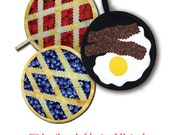 Over Easy Peasy - fruit pie and bacon and eggs pot holder pattern