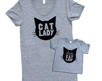 Cat Lady and Little Cat Lady Matching Set - Triblend Heather Grey with Black Print - Baby Infant and Toddler Kids Sizes