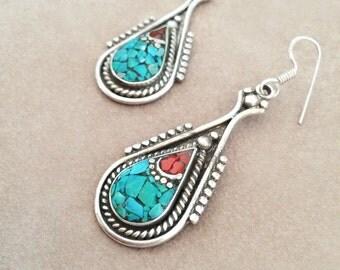 Turquoise & Coral Tibetan Silver Earrings // Boho Ethnic Mosaic Earrings