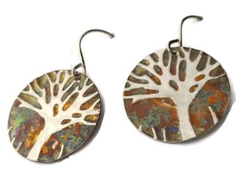 Womens|Gift|For|Her| Tree-Of-Life Earrings| Sterling|Silver|Jewelry| Tree|Earrings|Inspirational|Jewelry|Round Sterling-Silver-Earrings