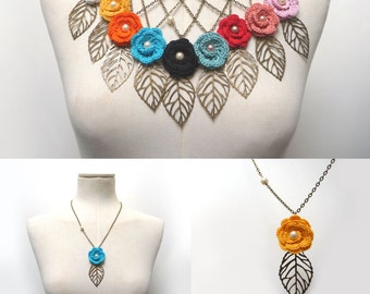 Crochet Flower Necklace with Brass Chain and Leaf - Cotton flower with metal leaf and pearls - Choose the color