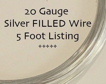 20 Gauge Wire, Sterling Silver FILLED Wire, Five (5) Feet, Round, Half Hard Wire for Wire Wrapping Jewelry, Gemstones and Beads