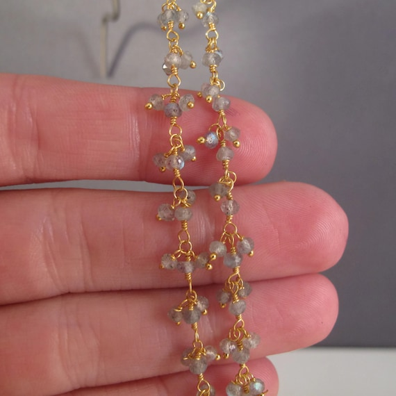 Last 9 Inches : Labradorite Rosary Chain, Gold Plated Wrapped Beaded Gemstone Chain, Jewelry Supplies, Natural Gemstones (S-Lab1)