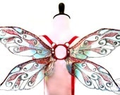 Junebug No.4 - Small Cellophane Fairy Wings in Dark Silver and Red Glitter
