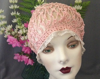 Charming 1920s Gatsby, Boardwalk Empire Pink Crochet, Ivory Tulle Boudoir Cap, Fit for a Bride