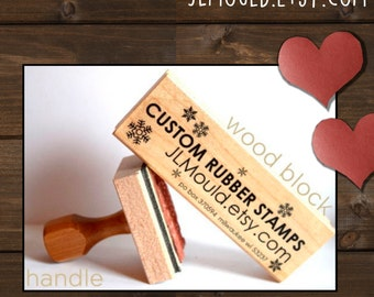 1x5 or 5x1 Custom Personalized Modern Red Rubber Stamp mounted WoodBlock or Handle JLMould Art Logo Image Wedding Invitations