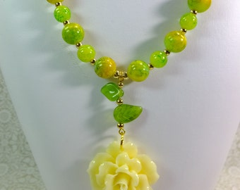 Buttery Cream Colored Resin Rose Pendant With Lime Green Glass Leaves and Beads Gold Finish Accent Beads Necklace