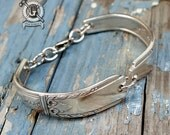 Lady Drake 1940 Spoon Bracelet - Adjustable - Handmade by Doctorgus from Recycled Vintage Sterling Silver Plated Silverware - Art Deco Style