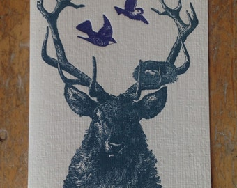 blue stag with nest and birds letterpress card