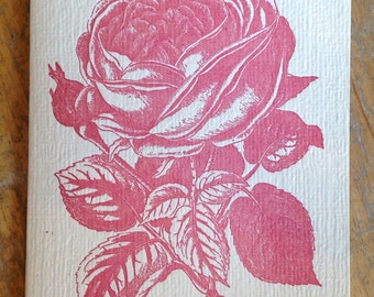 pink rose letterpress card blank recycled paper hand printed