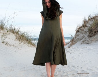 ORGANIC Super Cowl Wanderer Below Knee Dress (organic tissue cotton knit) - organic dress