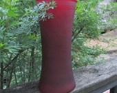 Vintage Ruby Glass Vase - Frosted Burgundy Glass Vase - Wedding Decor