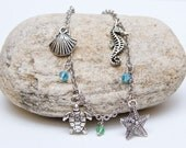 Beach charm bracelet sea ocean turtle seahorse starfish summer jewelry