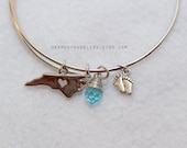 North Carolina bracelet pride spirit bracelet school college jewelry bangle charm bracelet blue heel charm
