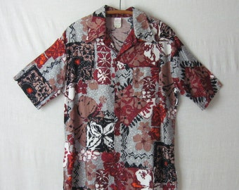 Hawaiian Shirt Mens Tropical Shirt 60s 70s Jantzen Vintage Shirt Large