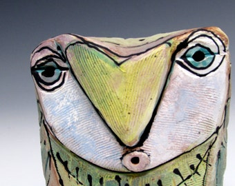 "Owl, Owl art, Clay owl, clay sculpture, ""Owl Person Singing Love into Being"", 3.75"" tall"
