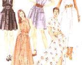 Front buttoned sundress summer style dress 90s Sewing pattern McCalls 7625 Size 8 to 12 or 16 to 20 UNCUT