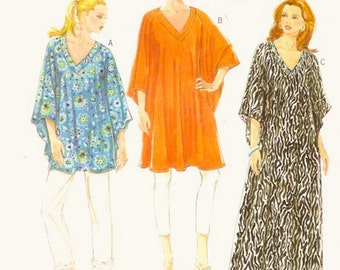 Boho caftan Top tunic Casual retro hippie Hipster Sewing pattern Butterick 5494 Sz XSM to Medium UNCUT