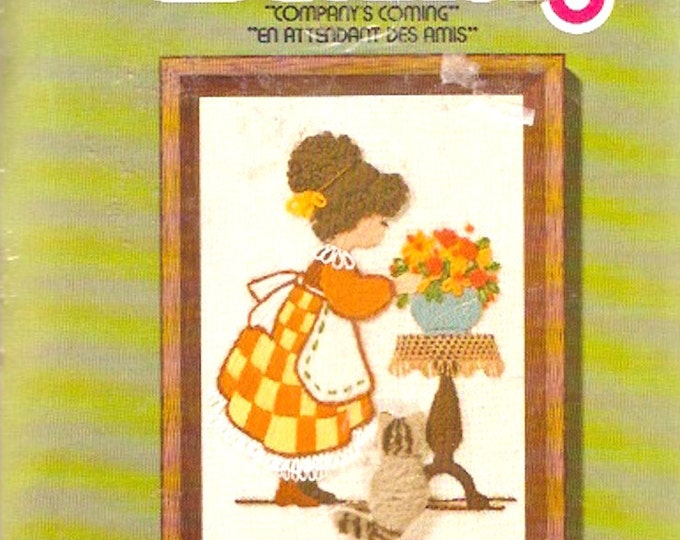 70s Jiffy Stitchery Kit No 711 Companys Coming embroidery Needlepoint Girl Flowers Cat Vintage Kit Unopened Sunset designs 1977