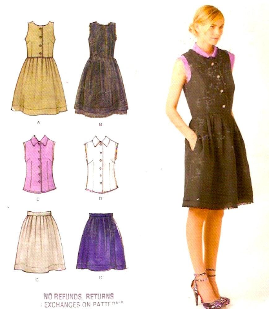 Cynthia Rowley Sewing Patterns: Cynthia Rowley Dress Top Skirt Chic Designer Sewing Pattern