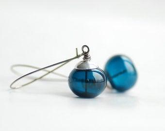 Ink Blue Earrings, Blue Glass Earrings, Romantic Jewelry, Midnight Blue Earrings, Hollow Glass Jewelry, Something Blue - Love Letter