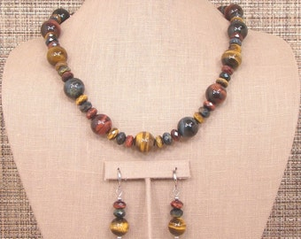 Chakra - OOAK Bold Natural Golden-Brown, Red and Blue Tiger Eye Necklace and Earrings.