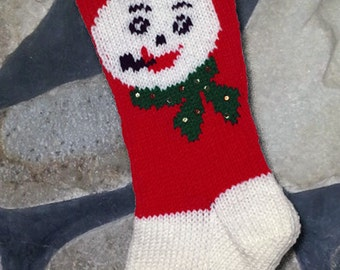 Hand Knitted Christmas Stocking Snowman Face