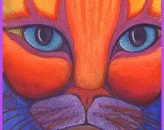 Bright cat face print of my original painting