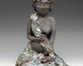 Pregnant Buddha Figurative Sculpture in Raku Ceramics by Anita Feng