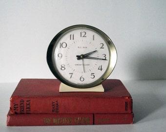 Mid Century Big Ben Alarm Clock by Westclox, Vintage Electronics Gold Tone Metal Retro Collectibles Industrial Decor Working Back to School