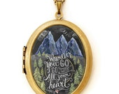 Art Locket - Chalkboard Art Locket Necklace - Mountains - Wherever You Go