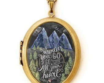 Art Locket - Chalkboard Art Locket Necklace - Mountains - Wherever You Go