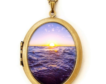 On The Horizon - Ocean Photography - Photo Locket Necklace