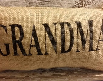"Burlap Grandma 11"" x 6"" Stuffed Pillow Mother's Day Or Birthday Gift"