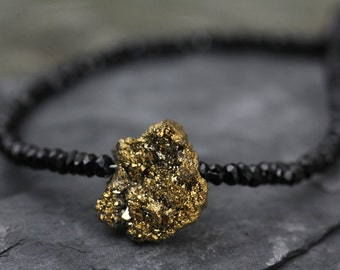 Gold Druzy Black Spinel Beaded Necklace