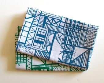 Geometric Architectural Screen Print Tea Towel in Green or Gray