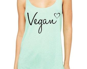 OVERSIZED Vegan Heart Slouchy Tank Top Tri Blend
