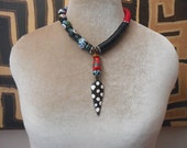 Tribal Modernist necklace, contemporary colors bold graphic design