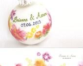 Custom Watercolor Wedding Invitation Ornament - Personalized