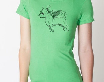 Flying Chihuahua Womens T-Shirt Small, Medium, Large, XL in 7 Colors