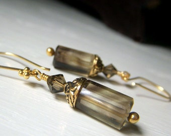 Bicolor Quartz Earrings, Gold Gemstone Earrings, Genuine Gemstone Dangle, Smoky Quartz Lemon Quartz, Gemstone Cylinder Earrings