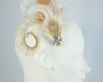 Ivory And Antique Gold Feather Hair Clip Flapper Headpiece
