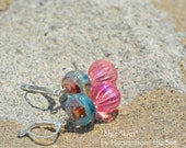 Blue Skies - Sky Blue and Coral Lampwork with Pink Lucite earrings